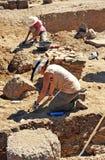 Excavaciones arqueológicas en Roman Sisapo City, La provincia de Bienvenida, Ciudad Real, España Fotografía de archivo libre de regalías