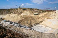 Excavador de red de arrastre en una mina de la arcilla Fotografía de archivo libre de regalías