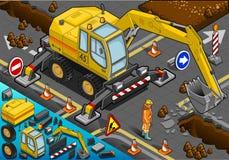 Excavador del amarillo de Sometric con cuatro brazos en Front View Fotografía de archivo libre de regalías