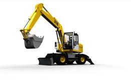 Excavador industrial amarillo aislado en blanco Imagenes de archivo