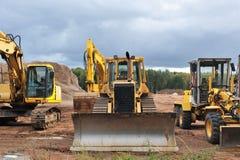 Excavadores estacionados Imagen de archivo libre de regalías