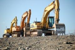 Excavadores que restablecen el dique holandés Fotografía de archivo