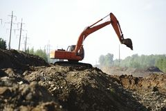 Excavate the road day pit.  royalty free stock image