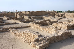Excavated ancient Saar village. The excavated Saar village dates from the early Dilmun periods of 4000 years ago Stock Photos