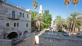 Excavated archeological ruins of the Pool of Bethesda and Byzantine Church timelapse hyperlapse.