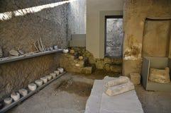 Excavated artefacts, Herculaneum. Various utensils in Scavi Ercolano, Campania, Italy Stock Photo