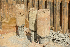 Excavated bore piles at the construction site Stock Photo