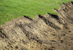Excavated earth. Details of excavated earth with lime covering bordering green grass on building site Royalty Free Stock Image