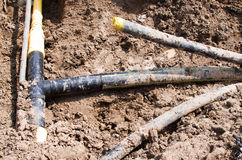 Excavated pipes Royalty Free Stock Photos