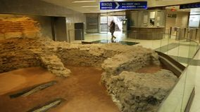 Excavated ruins of old settlement near gates in metro station, Sofia, Bulgaria. Stock footage stock video footage