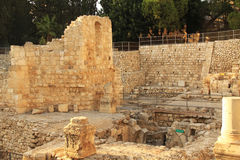 Excavated Ruins of the Pool of Bethesda and Church Stock Images