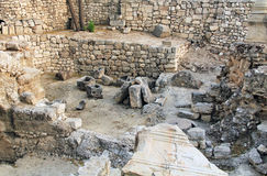 Excavated Ruins of the Pool of Bethesda and Church Stock Image