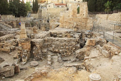 Excavated Ruins of the Pool of Bethesda and Church Royalty Free Stock Photo