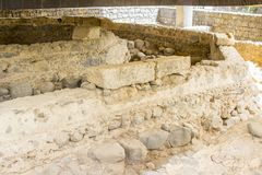The excavated ruins of St Peter`s house in Capernaum stock photography