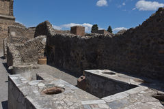 Excavated ruins of a stall selling cooked food in Pompeii Royalty Free Stock Photography