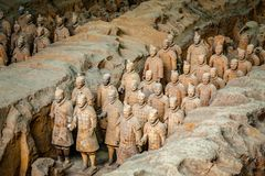 Free Excavated Sculptures Statues Of The Terracota Army Soldiers Of Qin Shi Huang Emperor, Xian, Shaanxi, China Royalty Free Stock Image - 163628216