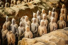 Free Excavated Sculptures Statues Of The Terracota Army Soldiers Of Qin Shi Huang Emperor, Xian, Shaanxi, China Stock Photography - 163628572