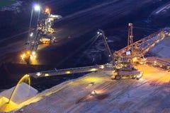 Excavateur à roue-pelle de rétrochargeur dans la mine à ciel ouvert Photo stock