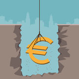 Excavating Euro. Vector illustration of a rope pulling up an Euro currency sign from the earth Stock Photography
