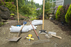 Excavating and Laying Pavers for Garden Patio Stock Photography