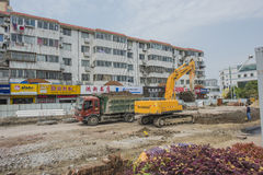 Excavating machinery Royalty Free Stock Photography