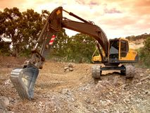 Excavation. A large excavator at work Stock Photography