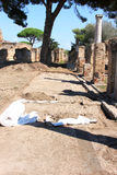 Excavation archéologique dans Ostia Antica, Italie Image libre de droits