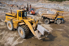 Excavation and dump vehicle. In a granite quarry Stock Photo