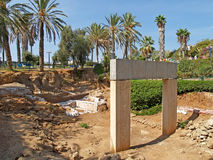 Excavation, gate of times of the Pharaoh Ramesses II. Yaffo, Isr Royalty Free Stock Photos
