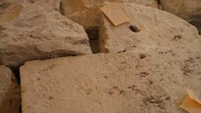 Excavation items marked with various labels, rocks lying on dig site, sequence. Stock footage stock video