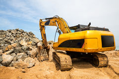 Excavation mashine works in a quarry Stock Photography