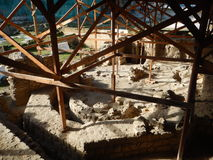 Excavation site covered with wooden structure Stock Image