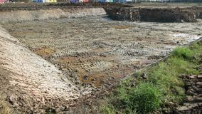 Excavation soil for building apartment building. At thailand stock image