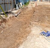 Excavation. Temporary drainage for construction site Royalty Free Stock Photos