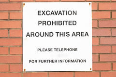 Excavation warning sign. Royalty Free Stock Images