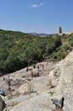 Excavation work at the ancient  city Perperikon. Excavation work on the ruins of ancient Thracian city of Perperikon, Bulgaria Royalty Free Stock Photo