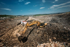 Excavation works for environmental purpose. Heavy duty machinery details Stock Image