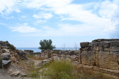 Excavations of ancient city. Ashore sea in a summer day Stock Photos