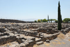 Excavations of the ancient city of Capernaum Stock Images