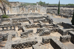 Excavations of the ancient city of Capernaum Stock Photos