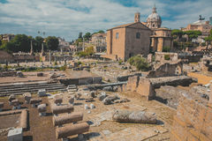 Excavations of the ancient city. (Rome, Italy). Stock Photos