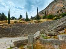 Excavations of the ancient Delphi city (Greece). Excavations of the ancient Delphi city along the slope of Mount Parnassus(Greece). The amphitheater Stock Photography