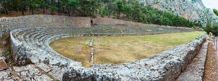 Excavations of the ancient Delphi city (Greece). Excavations of the ancient Delphi city along the slope of Mount Parnassus (Greece). The stadium Stock Photo