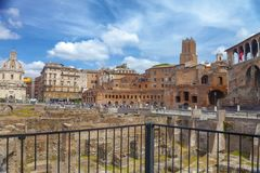 Excavations of the ancient Trajan`s Forum royalty free stock image
