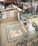 Excavations by archaeologists have revealed painted Roman fresco Royalty Free Stock Images