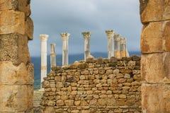 Excavations in the Archeologique de Volubilis, Morocco. Stock Photos