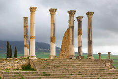 Excavations in the Archeologique de Volubilis, Morocco. Royalty Free Stock Image