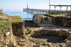 Excavations on the Black Sea. Excavations of the ancient buildings on the Black Sea coast near the current lighthouse Shabla, Bulgaria Royalty Free Stock Images