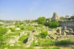 Excavations de sites historiques de voyage de la Crimée Khersones des murs Images libres de droits