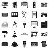 Excavations icons set, simple style. Excavations icons set. Simple set of 25 excavations vector icons for web isolated on white background Stock Photos